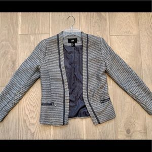 H&M open front blazer with zipper detail